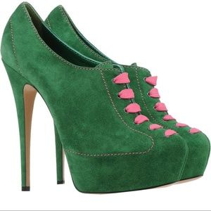 NIB CASADEI green suede with pink lace boots